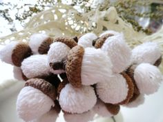 14 White Chenille ACORNS  upcycled from by CustomWarmWoolies, $11.00