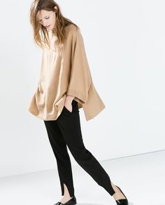 Image 4 of CASHMERE PONCHO WITH SIDE SLITS from Zara