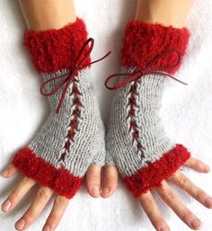 Handknit Fingerless Corset Gloves Wrist Warmers    These are very nice Fingerless Gloves of my own design - to make a statement as they include