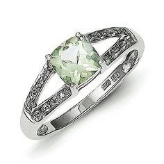 Sterling Silver Rhodium Cushion-cut Green Amethyst and Di...