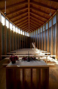 St. Benedict's Chapel by Peter Zumthor (1988-9) Sumvitg, Switzerland