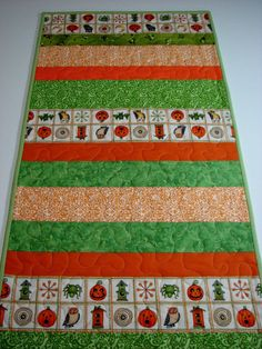 Quilted Table Runner  Halloween Table Runner  Scrappy Strips