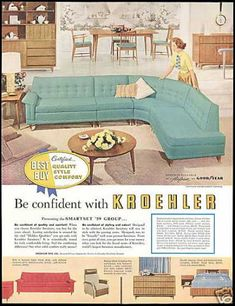 1950s Kroehler Furniture advertisement - Want this turquoise sofa!