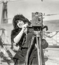 """""""Alda -- May 1921."""" The Australian soprano and frequent Caruso collaborator Frances Alda shipboard in New York. 5x7 glass negative."""