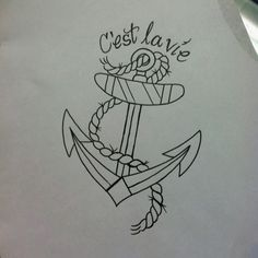 "Anchor tattoo sketch.. I like the text at top too and how it blends with the rest. ""hope"""