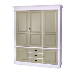 painted pine wardrobe with doors and 3 drawers Tall Cabinet Storage, Locker Storage, Pine Wardrobe, Home Collections, Solid Wood, Drawers, Vintage, Furniture, Design