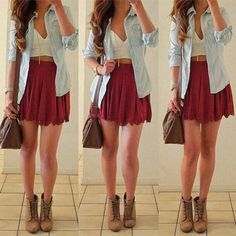 White cropped top, burgundy skirt, blue chambray shirt, boots