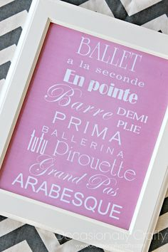 Occasionally Crafty: Free Ballet Printable for your Ballerina!