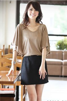 2 Pieces Joint Batwing Top with Skirt