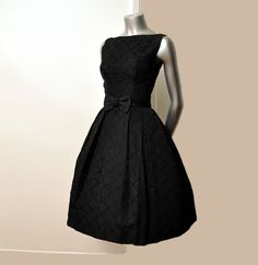 Vintage 50's Black Bow Ribbons Cocktail Party Full Skirt Dress