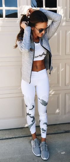 #fall #outfits women's white crop top, white leggings, gray sneakers and gray zip-up jacket