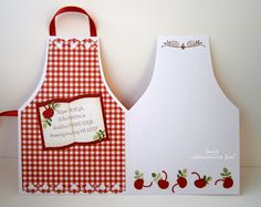handmade apron card ... opened up ... cute decorating ...