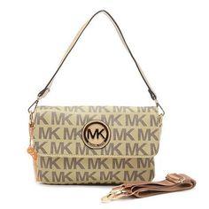 Perfect Michael Kors Logo Signature Large Beige Shoulder Bags, Perfect You