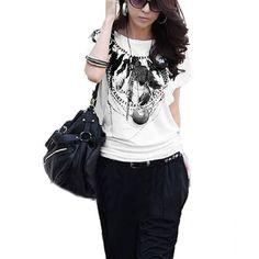 Allegra K Women Pullover Scoop Neck Feather Print Dolman Sleeve Shirt Allegra K. $8.34