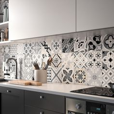 From Mediterranean mosaics to fantastic florals, Patterns is an eclectic collection of decorative and patterned tiles. An effortless and eye-catching way to add personality and panache to your next design project. Kitchen Room Design, Kitchen Cabinet Design, Home Decor Kitchen, Interior Design Kitchen, Home Kitchens, Modern Kitchen Tiles, Modern Kitchen Design, Kitchen Mosaic Tiles, Wall Tiles For Kitchen