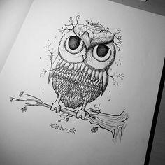 Coruja.  Agende por inbox. Parcelamento em até 12x.  #tattoo #ink #art #moleskine #unipin #electricink #bodyart #illustration #draw #desenho #paz #ilustração #arte #corpo #tatuagem #tinta #estúdio #studio #dinhovysk