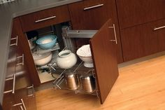 Corner Cabinet Storage | Turntable & Pivoting Shelves | Dura Supreme Cabinetry