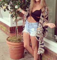 High-waisted shorts and kimono...my 2 new favorite fashion items to be worn together