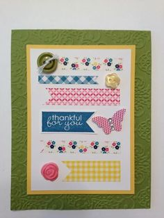 Washi Tape Card with Paper Clay Accent