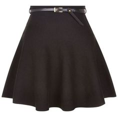 Black Belted Skater Skirt ❤ liked on Polyvore featuring skirts, skater skirt, belted skirt, circle skirt and flared skirt