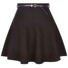 Black Belted Skater Skirt ❤ liked on Polyvore featuring skirts, circle skirt, belted skirt, flared skirt and skater skirt