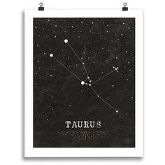 Taurus • Black & White Zodiac Print