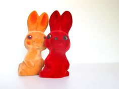 Bunny Polymer Toys Set, Soviet Vintage Red and Yellow Rabbits, USSR, Soft Flocking Toys, Collectible Toys on Etsy, $17.79 AUD