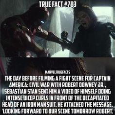 This is what I got in store for you tomorrow.... #lmao #awesome  The day before filming a fight scene for Captain America: Civil War with Robert Downey Jr.  Sevastian Stan Sent him a video of himself doing intesne bicep curls in front of the decapitated head of an iron man suit. He attached the message 'Looking forward to our scene tomorrow Robert.' #repost @marveltruefacts  This is amazing! @imsebastianstan has the video on his page!  Tag a friend!  #Marvel #CaptainAmerica #CivilWar…