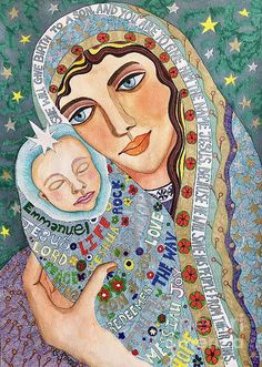 Jesus and Mary. #mixedmedia on paper by Caroline Street.