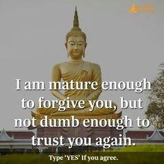 I'm mature enough to forgive you but not dumb enough to trust you again. Gita Quotes, Wisdom Quotes, True Quotes, Qoutes, Motivational Quotes, Inspirational Quotes, Buddha Thoughts, Buddha Life, Buddha Quote