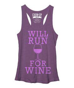Look at this #zulilyfind! Purple Heather 'Will Run for Wine' Racerback Tank by Chin Up Apparel #zulilyfinds