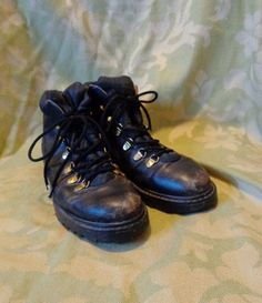 Women's Black Military Ankle Boots size 7 by BosVintage on Etsy