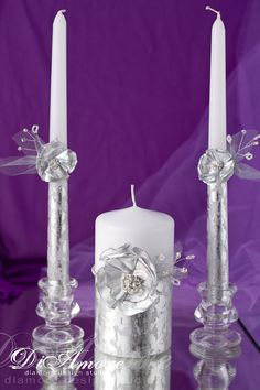Winter flower & silver painted handmade wedding unity candle, frosty ,  snowflake, silver metal wedding, personalization, crystal, 3pcs