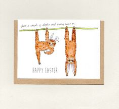 Just a couple of SLOTHS with bunny ears on. Easter Greeting Cards, Easter Card, Wholesale Greeting Cards, Wedding Greetings, Owl Always Love You, Couple Illustration, Paper Packaging, Paper Envelopes, Animal Cards