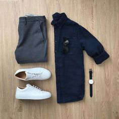 Men Casual Shirt Outfit 🖤 Very Attractive Casual Outfit Grid, Business Casual Attire For Men, Smart Casual Outfit, Men Casual, Casual Styles, Business Formal, Professional Attire, Casual Shirt, Mens Fashion Blog, Fashion Outfits