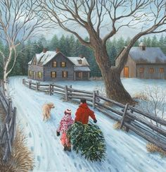 These high quality christmas paintings and christmas artwork are perfect for your home! Christmas Scenery, Cozy Christmas, Christmas Past, Country Christmas, Beautiful Christmas, Christmas Holidays, Christmas Decorations, Illustration Noel, Christmas Illustration