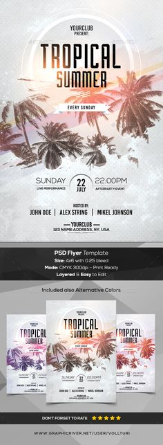 Tropical Summer - PSD Flyer - #Flyers Print #Templates Download here: https://graphicriver.net/item/tropical-summer-psd-flyer/19757174?ref=alena994