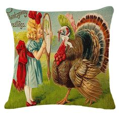 Misshow thanksgiving pillow covers 18x18 Oil Painting Holiday turkey Gifts for Friends Cotton Blend Linen Sofa Cushion Cover * Wow! I love this. Check it out now! : Free Home and Kitchen