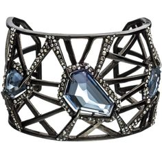 Alexis Bittar Delano Blue Sapphire Deco Cuff ($163) ❤ liked on Polyvore featuring jewelry, bracelets, accessories, jewels, pulseiras, art deco inspired jewelry, indian bangles, art deco jewelry, alexis bittar bangle and indian jewellery