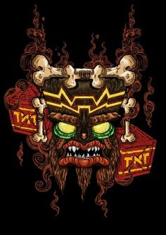 Uka Uka from Crash Bandicoot Crash Bandicoot, Spyro The Dragon, Furry Comic, Gamers Anime, Geek Art, Video Game Art, Retro, Dragon Ball Z, Amazing Art