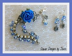 FUF 3/18 .. Flower Bracelet with matching earrings .. Almost everything B'sue except for blue glass beads and flower charms .. Clever Designs by Jann .. https://www.etsy.com/shop/CleverDesignsbyJann