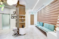Healthcare Design - Plastic surgery clinic for face, eye and neck in Toronto… Medical Office Design, Pharmacy Design, Healthcare Design, Waiting Room Design, Waiting Area, Waiting Rooms, Cabinet Medical, Booth Seating, Hospital Design