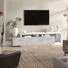 Carlotta TV Stand for TVs up to Metro Lane Colour: Grey Living Room Grey, Living Room Modern, Home Living Room, Tv Stand Living Room, Living Room Decor Tv, Tv Unit Furniture, Furniture Design, Tv Wanddekor, Tv Stand Decor