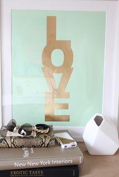 Love Candy Print Mint & Gold by jenniferramos on Etsy, $35.00
