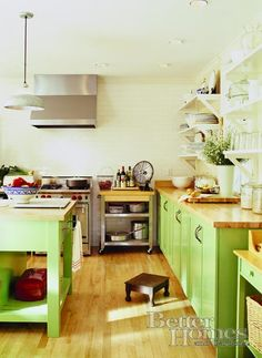 Love butcher block countertops and even the green cabinets. Will I end up hating the green in a couple of years?  How about red?