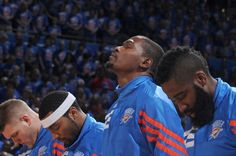 Kevin Durant #35 Of The Oklahoma City Thunder And Teammates Line Up In Game Five Of The Western Conference Semifinals