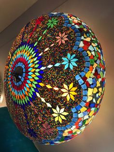 A multicolour ceiling lamp handmade in India. Everytime when we got the new container i still impresed by this wonderful piece of art.