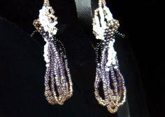 Handmade Purple & Brown Humming Bird Earrings. Seed beads.