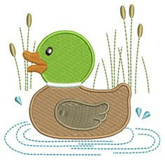 Duck machine embroidery design. Mallard duck in pond, cute filled design. One size.  Exact sizes and stitch counts on 2nd picture.  Designed to fit