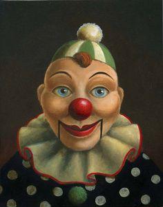 Vintage Clown Doll Portrait-Ventriloquist Dummy-by Lisa Zador www.lisazador.com
